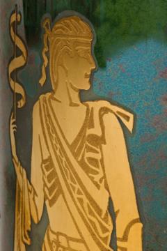 Arrigo Finzi Arrigo Finzi Greco Roman Motif Gold Porcelain Vase for Oro Zecchino - 1197389