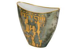 Arrigo Finzi Greco Roman Motif Gold Porcelain Vase for Oro Zecchino - 1206640