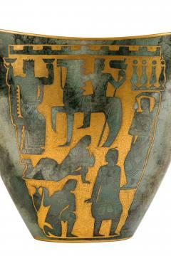 Arrigo Finzi Greco Roman Motif Gold Porcelain Vase for Oro Zecchino - 1206643