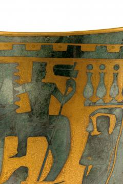 Arrigo Finzi Greco Roman Motif Gold Porcelain Vase for Oro Zecchino - 1206645