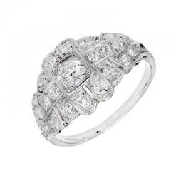 Art Deco 31 Carat Diamond Platinum Dome Engagement Ring - 389371