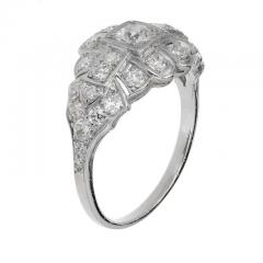 Art Deco 31 Carat Diamond Platinum Dome Engagement Ring - 389372
