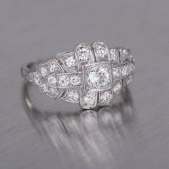 Art Deco 31 Carat Diamond Platinum Dome Engagement Ring - 389374