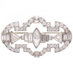 Art Deco 7 25 Carat Diamond Platinum Brooch - 417129
