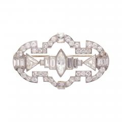 Art Deco 7 25 Carat Diamond Platinum Brooch - 417132
