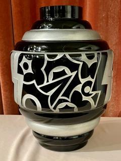 Art Deco Acid Etched Modernist Glass Vase by Scalimont Production - 1807100