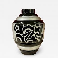 Art Deco Acid Etched Modernist Glass Vase by Scalimont Production - 1807410