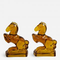 Art Deco Amber Glass Horse Bookends - 1243876