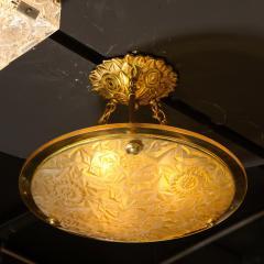 Art Deco Amber Glass Pendant w Stylized Cubist Motifs Gilded Bronze Fittings - 2143348