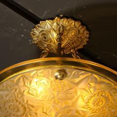 Art Deco Amber Glass Pendant w Stylized Cubist Motifs Gilded Bronze Fittings - 2143350