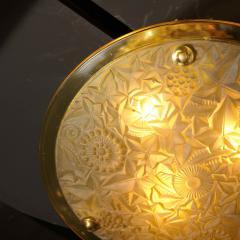 Art Deco Amber Glass Pendant w Stylized Cubist Motifs Gilded Bronze Fittings - 2143383