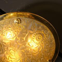 Art Deco Amber Glass Pendant w Stylized Cubist Motifs Gilded Bronze Fittings - 2143386