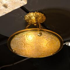Art Deco Amber Glass Pendant w Stylized Cubist Motifs Gilded Bronze Fittings - 2143388