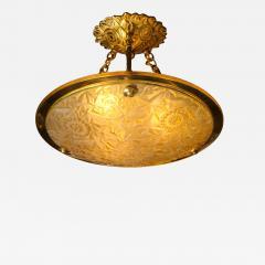 Art Deco Amber Glass Pendant w Stylized Cubist Motifs Gilded Bronze Fittings - 2144765