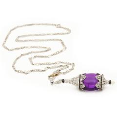 Art Deco Amethyst and Diamond Pendant Necklace - 170333