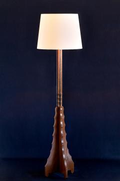Art Deco Amsterdam School Oak Floor Lamp Early 1930s - 954921