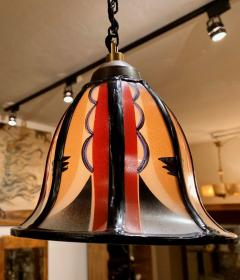 Art Deco Amsterdam School Stained Glass Hanging Lamps - 1352326