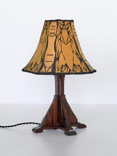 Art Deco Amsterdam School Table Lamp in Macassar Ebony Netherlands 1930s - 1095656