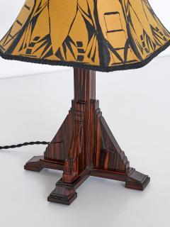 Art Deco Amsterdam School Table Lamp in Macassar Ebony Netherlands 1930s - 1095657