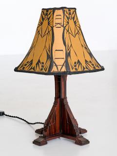 Art Deco Amsterdam School Table Lamp in Macassar Ebony Netherlands 1930s - 1095658