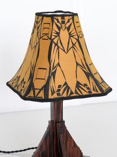 Art Deco Amsterdam School Table Lamp in Macassar Ebony Netherlands 1930s - 1095659