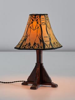 Art Deco Amsterdam School Table Lamp in Macassar Ebony Netherlands 1930s - 1095662