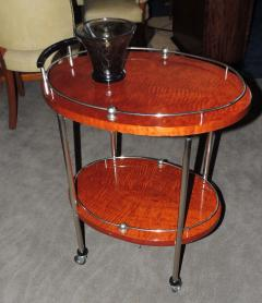 Art Deco Bar Cart with Wood and Chrome - 116487