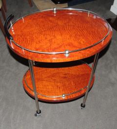 Art Deco Bar Cart with Wood and Chrome - 116488