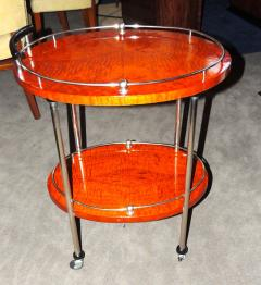 Art Deco Bar Cart with Wood and Chrome - 116490