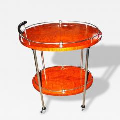 Art Deco Bar Cart with Wood and Chrome - 116684