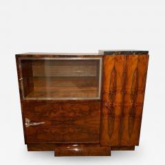 Art Deco Bar Sideboard Walnut Veneer Nickel Glass Door France circa 1930 - 2068763
