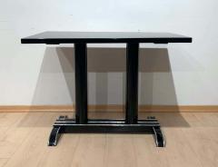 Art Deco Bistro or Side Table Black Lacquer Aluminum Trims France 1930s - 1808436