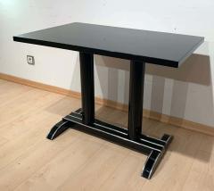 Art Deco Bistro or Side Table Black Lacquer Aluminum Trims France 1930s - 1808437