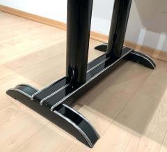 Art Deco Bistro or Side Table Black Lacquer Aluminum Trims France 1930s - 1808438
