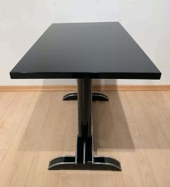 Art Deco Bistro or Side Table Black Lacquer Aluminum Trims France 1930s - 1808440