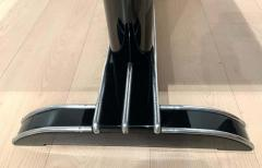 Art Deco Bistro or Side Table Black Lacquer Aluminum Trims France 1930s - 1808443