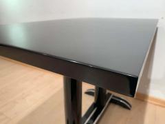 Art Deco Bistro or Side Table Black Lacquer Aluminum Trims France 1930s - 1808446
