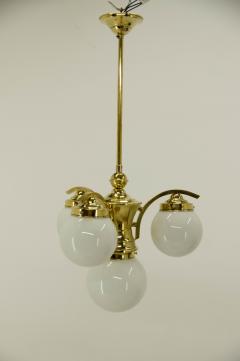 Art Deco Brass 4 flamming Chandelier 1930s - 2088085