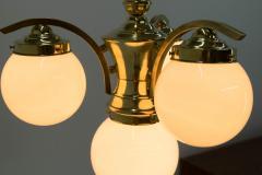 Art Deco Brass 4 flamming Chandelier 1930s - 2088091