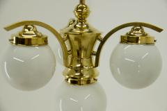 Art Deco Brass 4 flamming Chandelier 1930s - 2088092