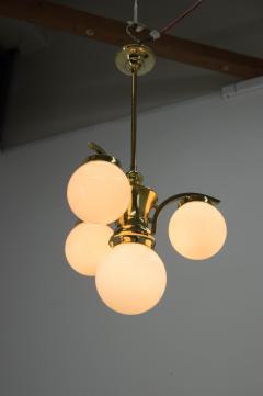 Art Deco Brass 4 flamming Chandelier 1930s - 2088093