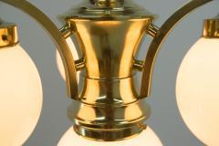 Art Deco Brass 4 flamming Chandelier 1930s - 2088094