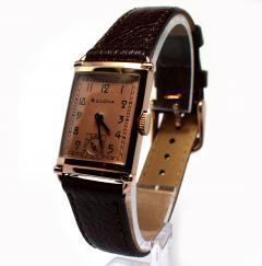 Art Deco Bulova WW2 14k Rose Gold 21 Jewels Gents Wrist Watch Newly Serviced - 954081
