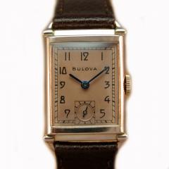 Art Deco Bulova WW2 14k Rose Gold 21 Jewels Gents Wrist Watch Newly Serviced - 954544