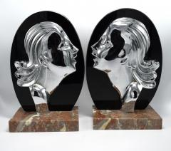 Art Deco Chrome And Vitrolite Bookends Circa 1930 - 1106101