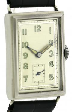 Art Deco Chrome Gents Wristwatch Old Stock Never Worn Newly Serviced 1930 - 1162717