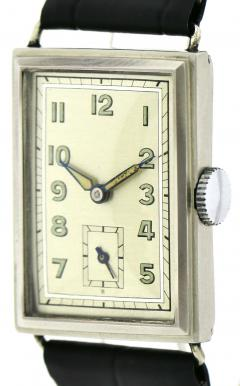 Art Deco Chrome Gents Wristwatch Old Stock Never Worn Newly Serviced 1930 - 1162718