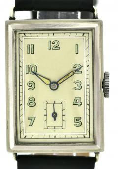 Art Deco Chrome Gents Wristwatch Old Stock Never Worn Newly Serviced 1930 - 1162719