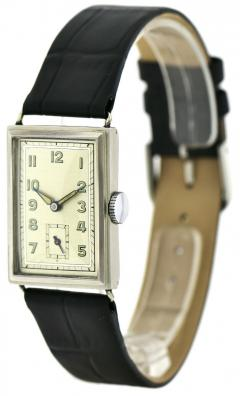 Art Deco Chrome Gents Wristwatch Old Stock Never Worn Newly Serviced 1930 - 1162723