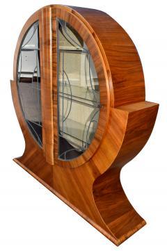 Art Deco Circular Display Vitrine Cabinet in Walnut 1930s - 1105933